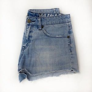 Volcom Distressed Stone Wash Jean Shorts